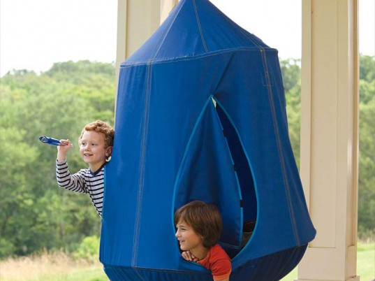 hugglepod hangout, hanging tent, indoor and outdoor use, hang from a stand, hang from a ceiling, hang from a tree, nylon canvas hanging tent, led lights, backyard camping, backyard play