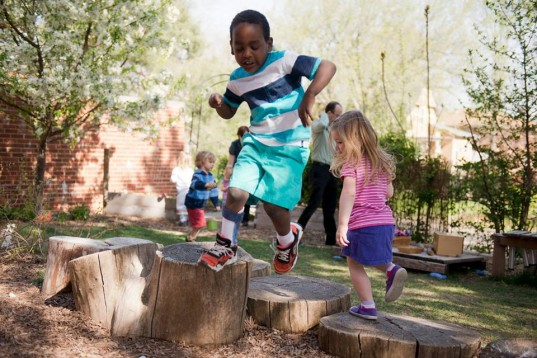 Nature Explore, outdoor classroom, natural playground, recess, playgrounds, school, learning, childhood obesity, early childhood development, social skills, exercise, play
