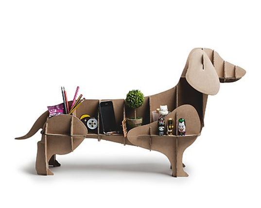 Diy toys, diy furniture, sustainable furniture, green toys, recyclable toys, cardboard toys, cardboard furniture, cardboard storage solutions, sustainable storage solutions, the dachshund dog