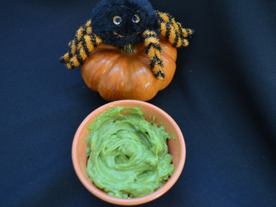 avocado goo, green family, Halloween treats, avocado pudding