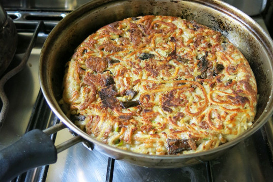 pasta cake, Recycle of Leftovers, Spaghetti Cake, wild dried mushrooms, cooked eggplant,