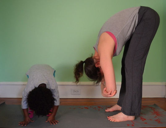 standing forward bend, yoga,, yoga poses, green family