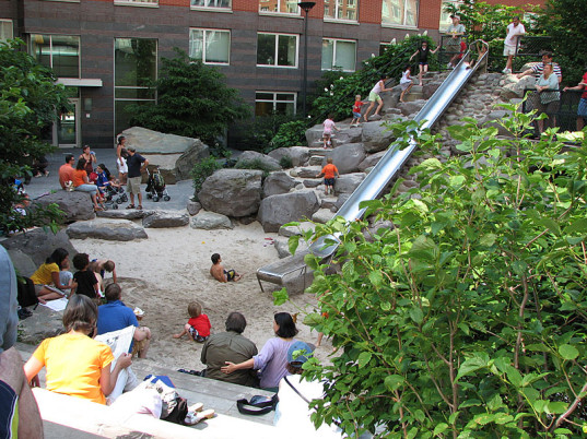 unusual playgrounds, international playgrounds, playgrounds around the world, best playgrounds, top playgrounds, Teardrop Park, playgrounds in NYC