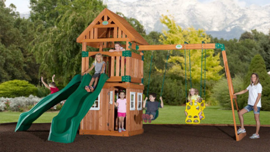 eco-friendly playgrounds, eco-friendly playground equipment, eco-friendly swing sets, safe swing sets, non-toxic swing sets, sustainable wood, Big Toys, Backyard Discovery, Kids Creations, Play-Well, CedarWorks,