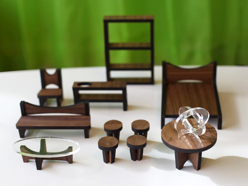 The Arc Flatpack Dollhouse Is Designed In Mid Century Modern Style