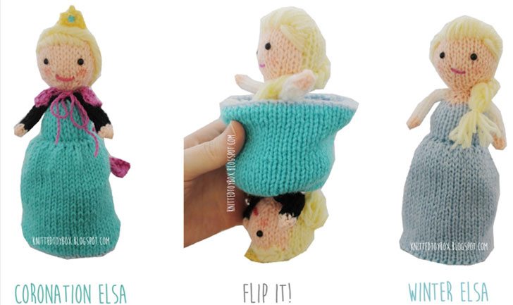 Knit Your Own Flip Dolls Of Elsa Anna From Disneys Frozen