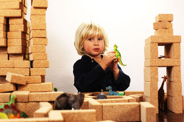 Korxx Sustainable Cork Blocks Make for a Quiet and Creative Building Playtime