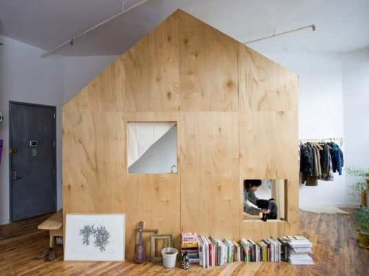 A cabin in a loft, brooklyn art space, brooklyn artist, bushwick, indoor treehouse, indoor cabin, loft rental, terri chiao, adam frezzo
