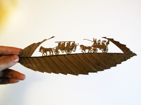 green design, eco design, sustainable design, Omid Asadi, cut leaves, leaf art, nature art, leaf collecting