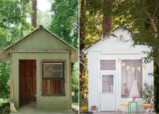 Joni Lay, Lay Baby Lay blog, Georgia, playhouse, cubby, garden, old garden shed transformed into a playhouse, DIY, play space, stage, dance recital, reading nook, kitchen