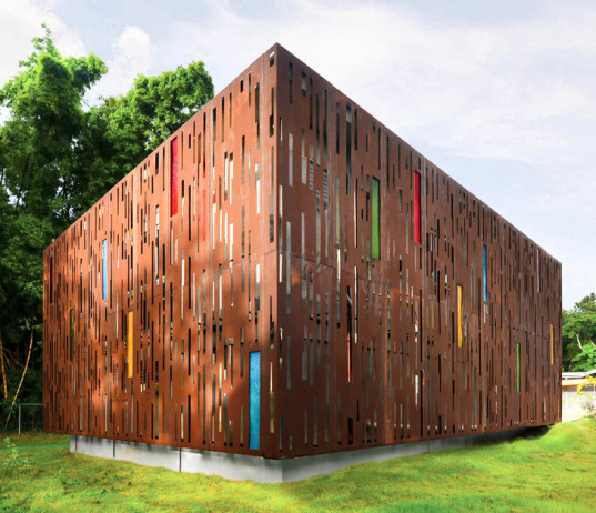 Puerto Rico, preschool, architecture, Díaz Paunetto Arquitectos, school, redesign, refit, green school, stained glass, steel cladding, adaptive reuse, school annex, bamboo, Guardería Ecológica La Mina,