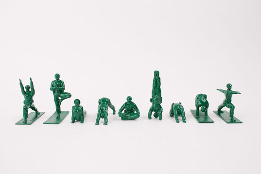 yoga joes, dan abramson, yoga figurines, yoga toys, green kids, g.i. joes doing yoga