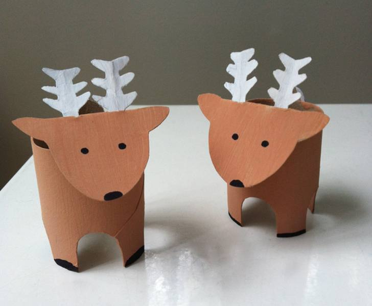 Recycled Christmas Craft Toilet Roll Reindeer Inhabitots