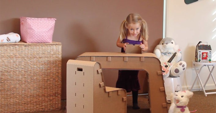 Kids can design their work space with The Cardboard Guys' cardboard desk and chair