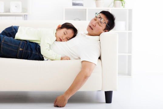 dad and daughter sleeping