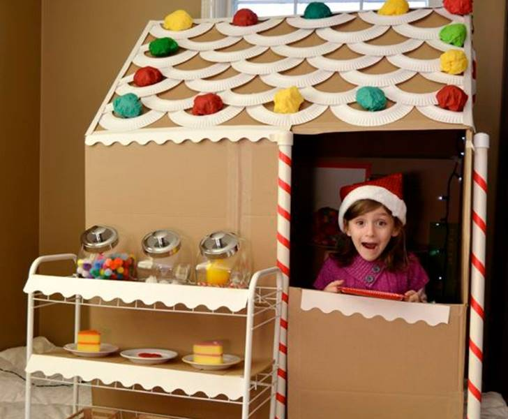 Cardboard Box Crafts Gingerbread House Inhabitots