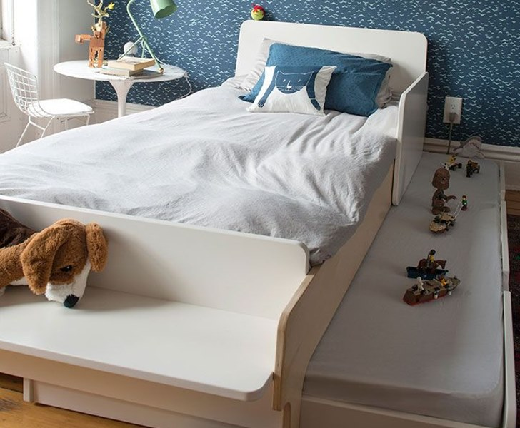 Oeuf\'s space-saving River twin bed features a bench & an optional ...