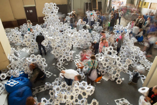 green design, eco design, sustainable design, Moscow Polytechnic Museum, Collective Paper Aesthetics, DIY cardboard, Noa Haim, DIY landscapes