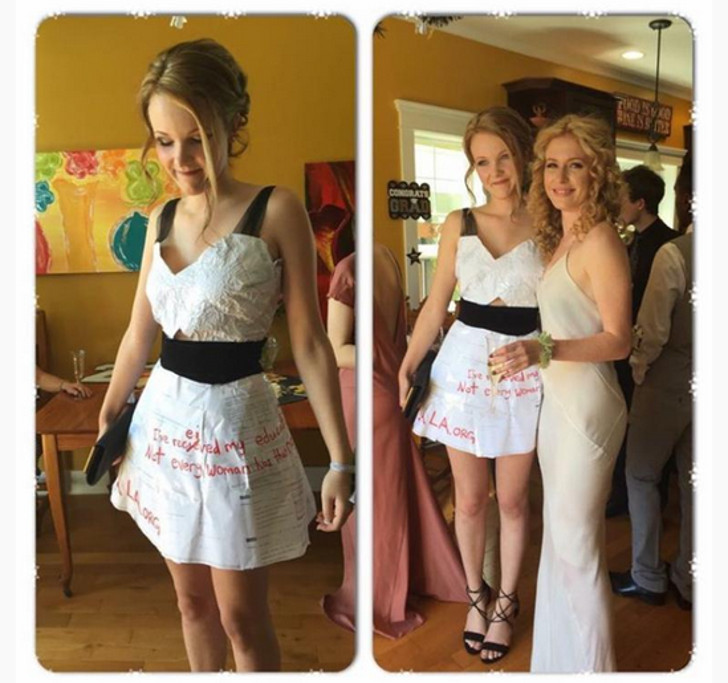 Prom dress made out of math homework