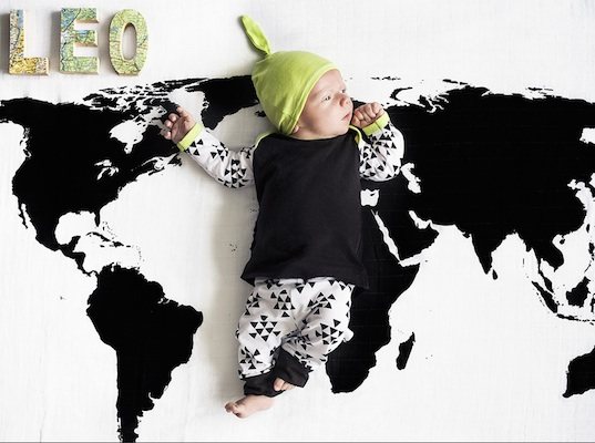 Give your baby a global view with Modern Burlap's organic cotton