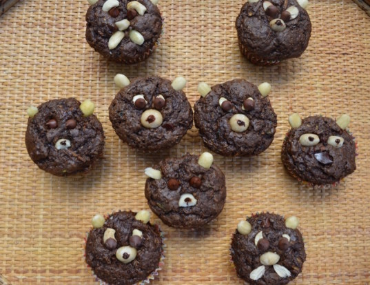 zucchini bear muffins, how to, muffin decorating ideas, vegan muffins
