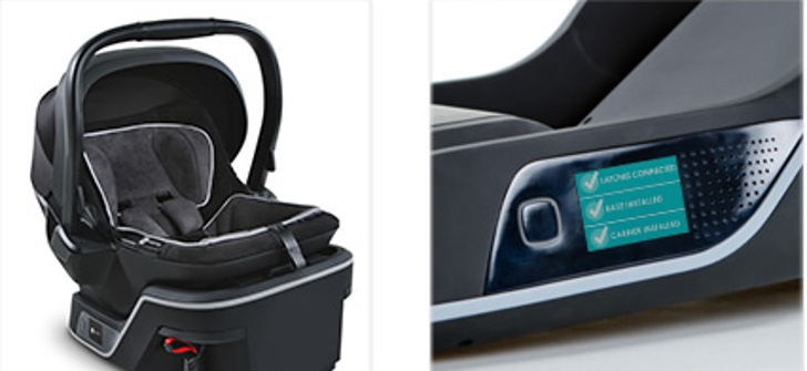 The 4moms infant car seat installs itself, checks base installation