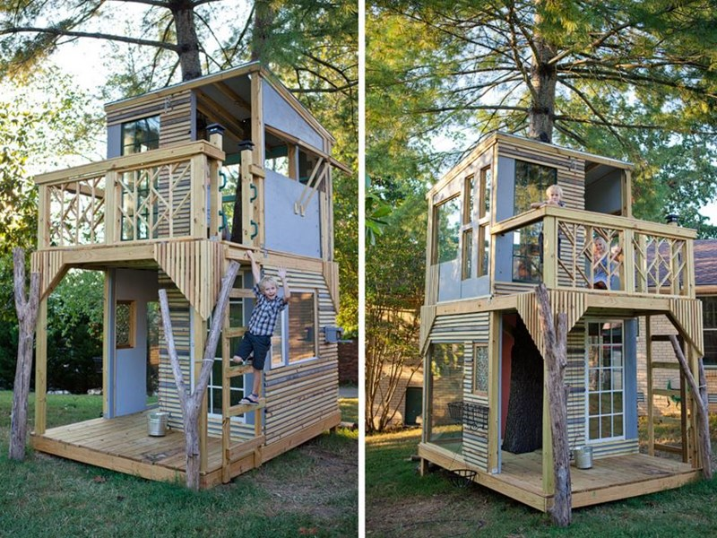 dad builds a dreamy airy two story treehouse with his kids - Two Story Tree House Plans