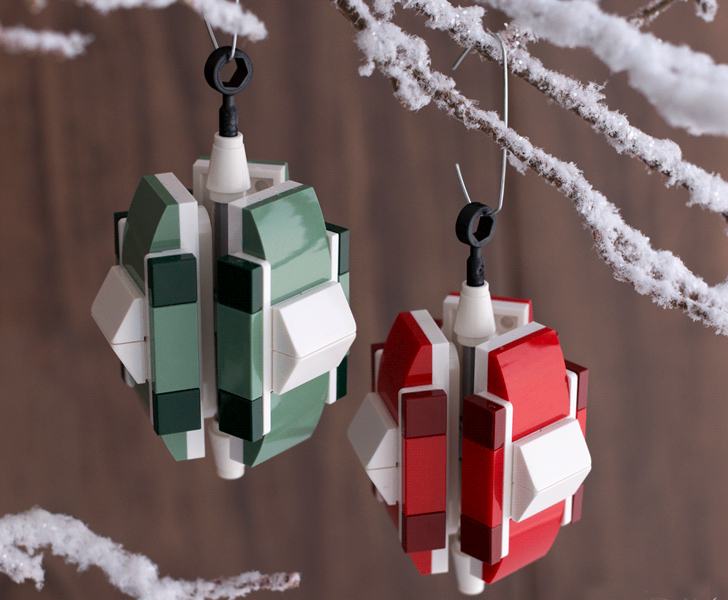 make your own lego christmas ornaments inhabitots - How To Make Your Own Christmas Decorations