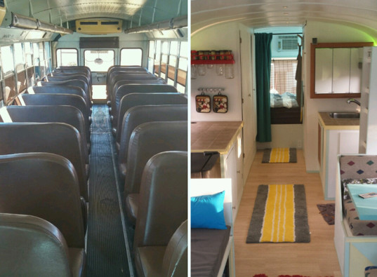 green design, eco design, sustainable design, Paul Schmidt, Skoolielove, converted school bus, adaptive reuse, solar array, off the grid home