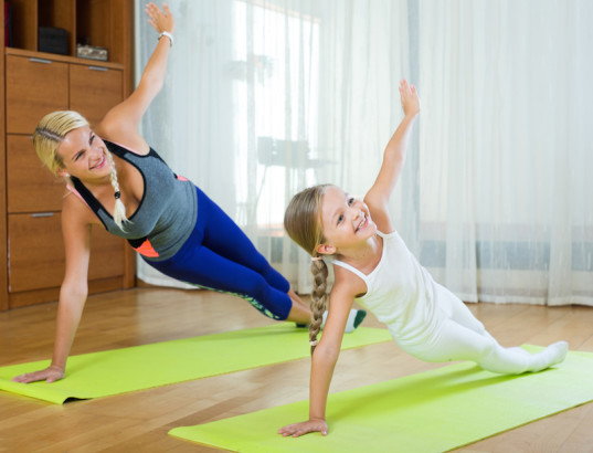 yoga with kids, exercise, green family, winter blues