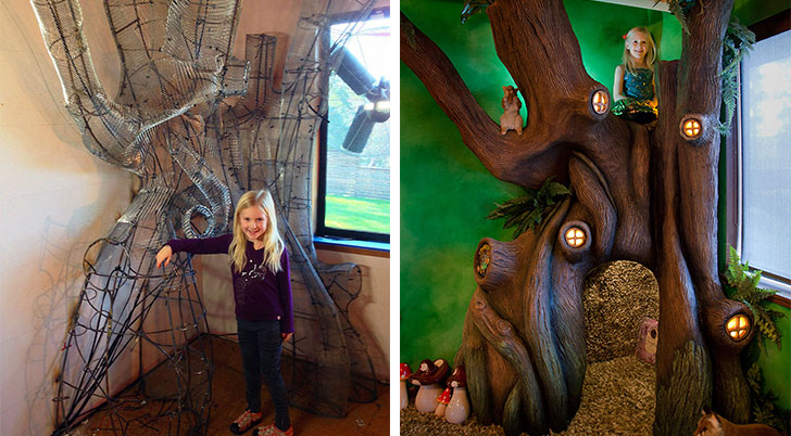 Dad Turns His Daughters Room Into A Fantastical Tree House