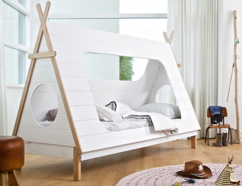 Wooodu0027s teepee tent bed offers a cozy way to bring your childu0027s love of the outdoors in for bedtime | Inhabitots & Wooodu0027s teepee tent bed offers a cozy way to bring your childu0027s ...