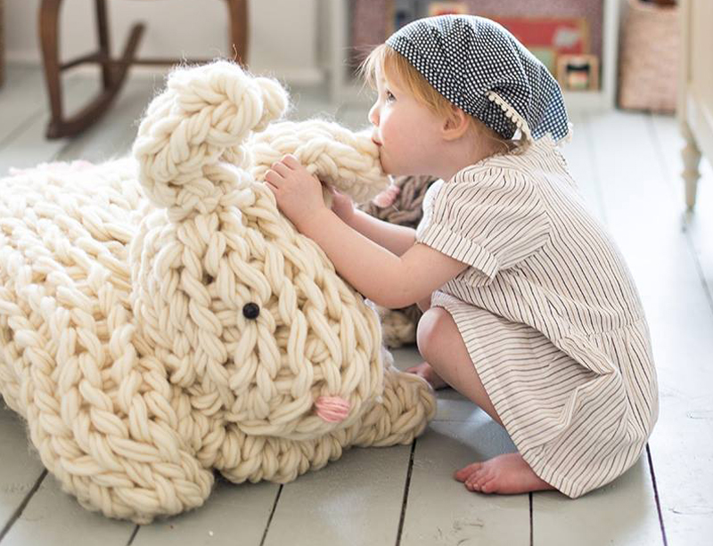 Giant arm knit bunny inhabitots want to whip up an epic toy bunny in time for easter using your own two hands er arms the giant arm knit bunny kit from flax twine comes with negle Gallery