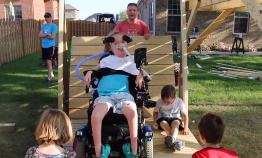 wheelchair accessible swing, storytime rocking chair, star wars baby helmets,inspiring dad designs, magic wheelchair, dad built treehouse, treefort bed, humane spider catcher, DIY treehouse, DIY treehouse reading nook, father's day designs by dad