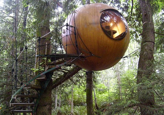 spherical treehouse, treehouse, treehouse pod, treehouse design