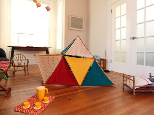 iA playhouse, indoor playhouse, outdoor playhouse, geometric playhouse, creative play, building fort, indoor fort, natural materials, free play
