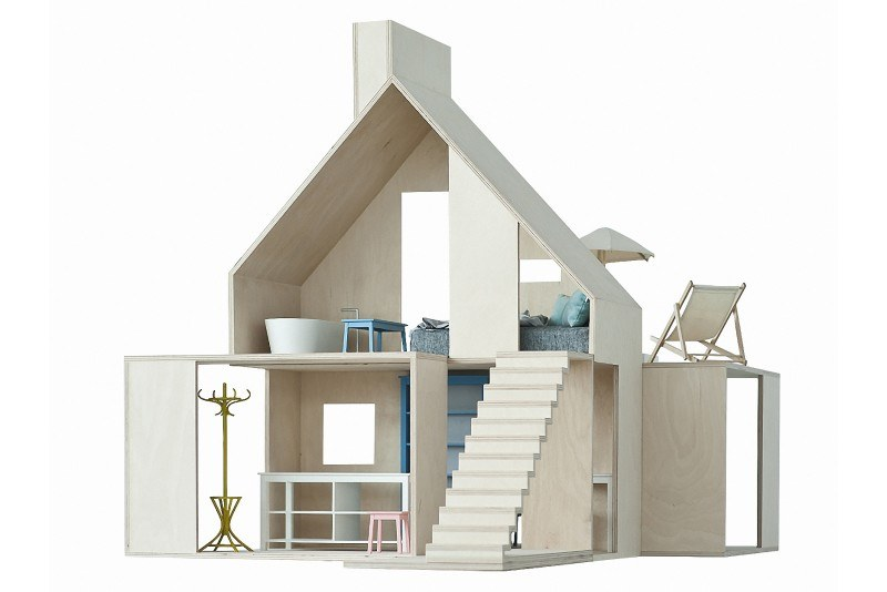 boomini wood dollhouse brings sophisticated scandinavian design to the playroom - Wooden Dollhouses Designs