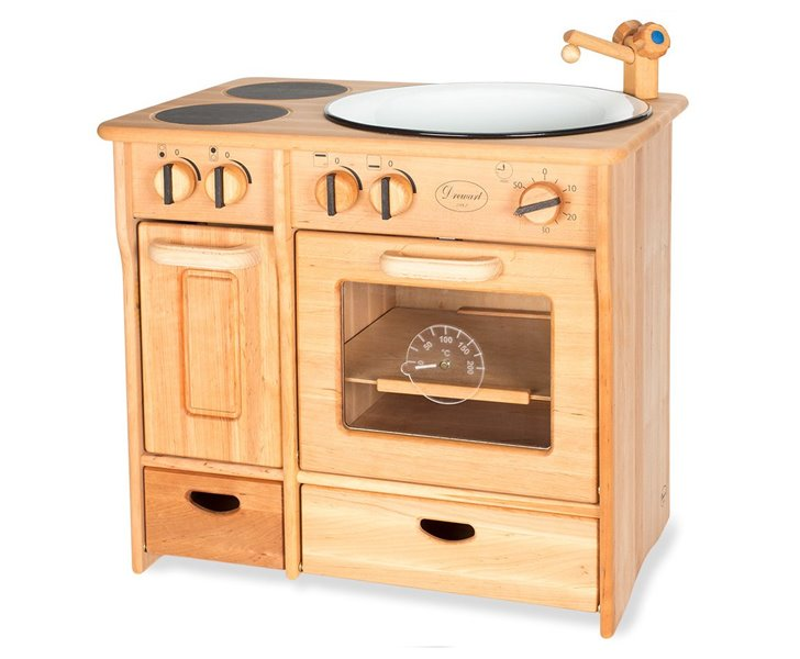 this wooden play kitchen is the perfect accessory for your little