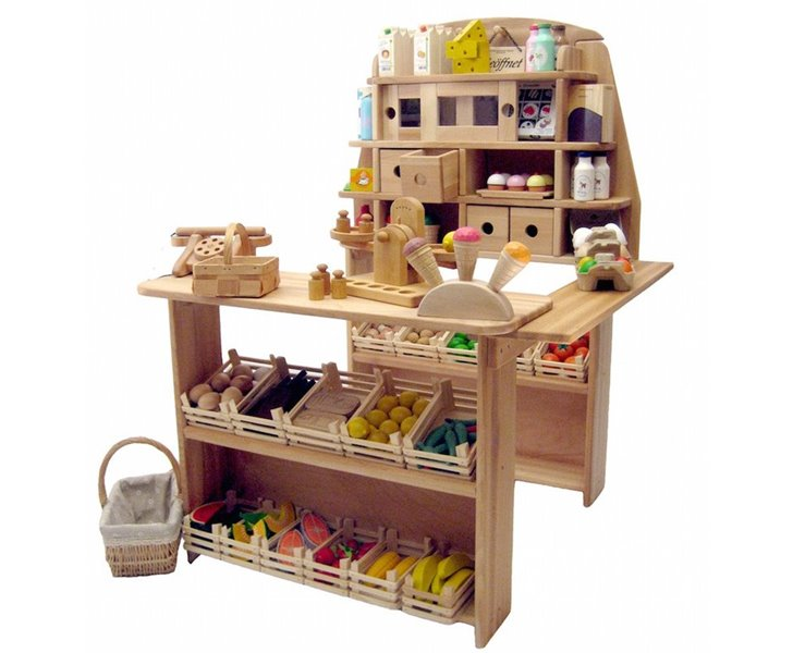 Amazing wooden grocery stand lets kids set up shop for Kids kitchen set canada