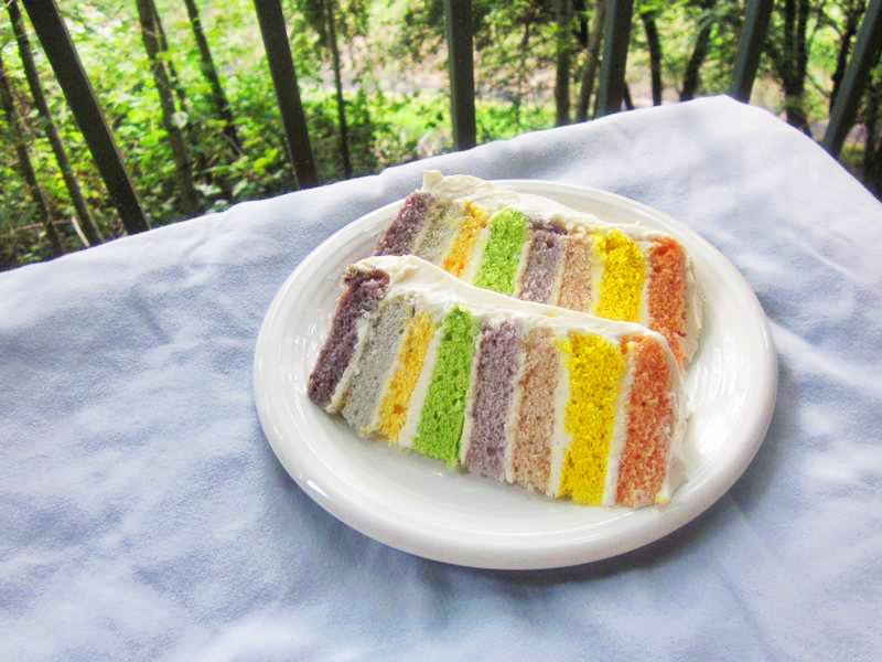 DIY Organic Rainbow Cake Without Toxic Chemical Food