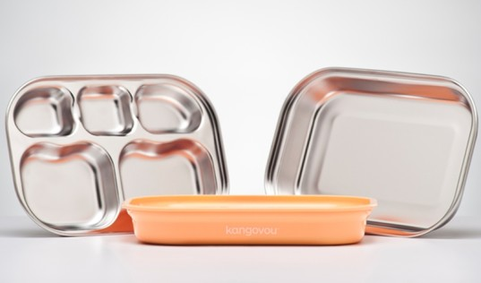 kangovou, stainless steel dishes, modern stainless steel, stainless steel dishes for kids, stainless steel sippy, stainless steel bowls, modern dishes, pastel dishes