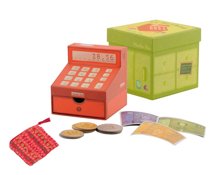 toy cash register teaches kids about money counting and cooperation inhabitots. Black Bedroom Furniture Sets. Home Design Ideas