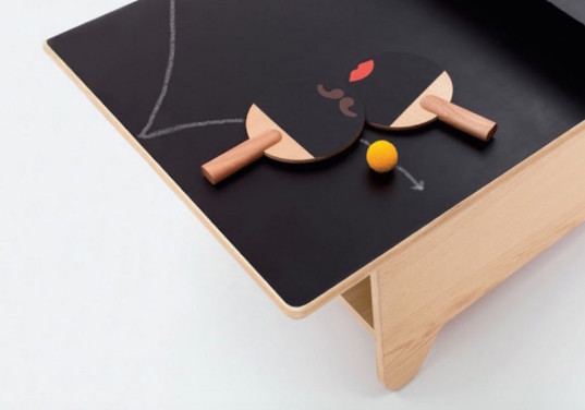 table tennis, chalkboard table, kid friendly, kids entertainment