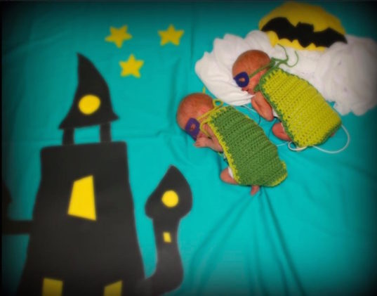 superhero preemies, preemies on Halloween, Halloween costumes, Halloween