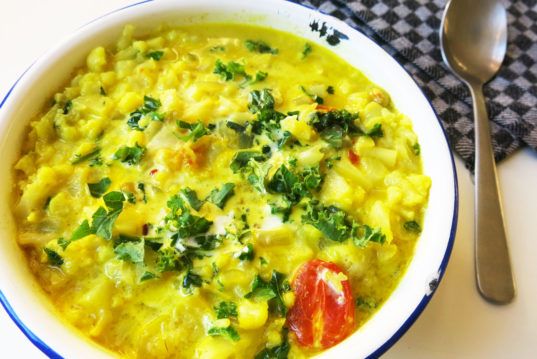 HOW TO Make, spicy coconut cauliflower stew, cauliflower stew, winter stew, comforting dish,