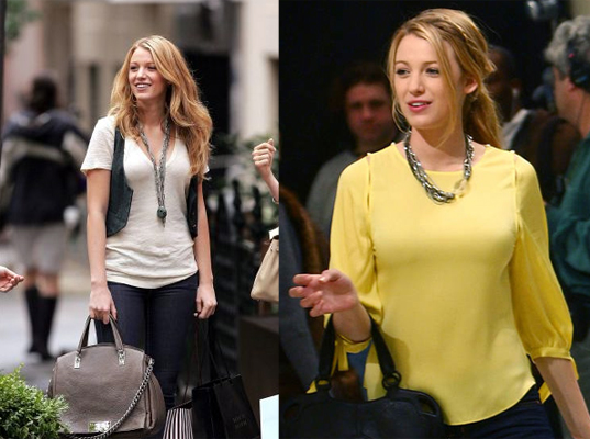 Blake Lively wearing Gemma Redux on the set of Gossip Girl