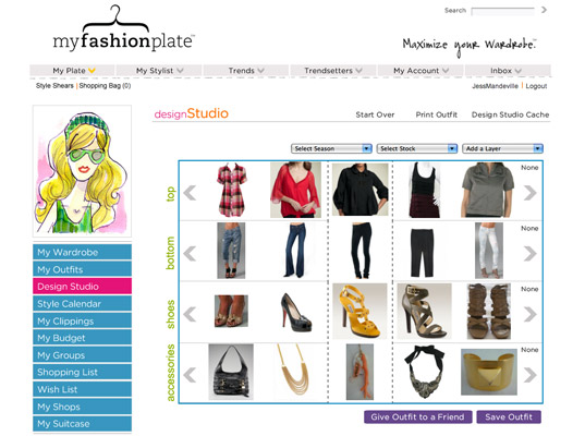 Screenshot of My Fashion Plate, online fashion tools, closet management