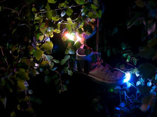 Solar LED shoes From Lost Values, solar-power fashion, recycle shoes, DIY kits, DIY solar lighting, solar fashion