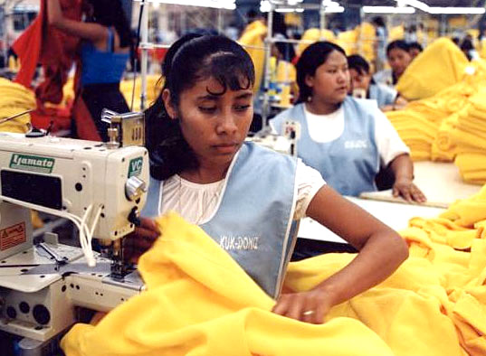 Garment worker in a sweatshop in Bangladesh