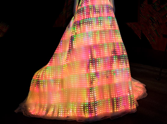 LED Galaxy Dress by CuteCircuit, wearable, technology, cute circuit, led dress, led dress, largest wearable display, light up dress, led light, led clothing, green fashion, fashion technology